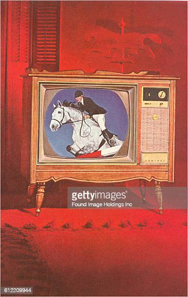 Vintage illustration of a jumping horse and rider as seen on a console television in a red room in the 1960s