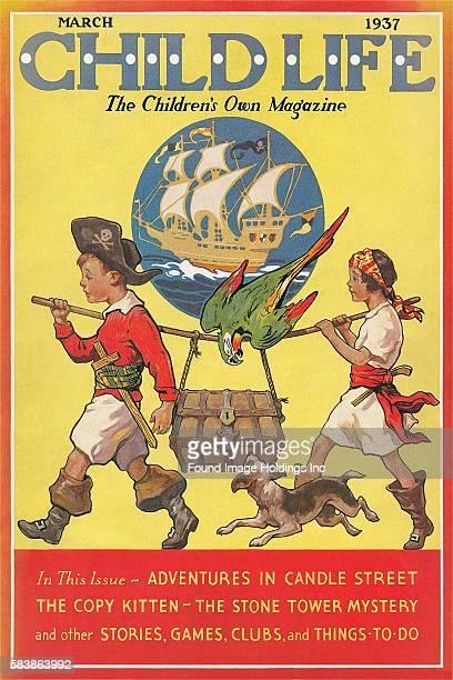 Vintage illustration of a magazine cover Child Life 1930s