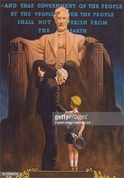 Vintage illustration of a man and little boy standing in front of the statue of President Lincoln inside the Lincoln Memorial