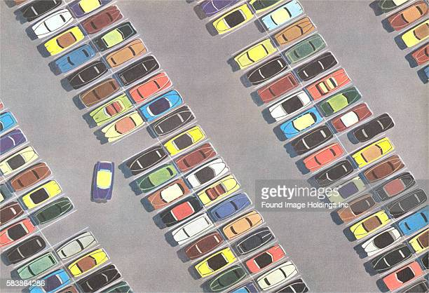 Vintage illustration of a Parking Lot from Above 1950s