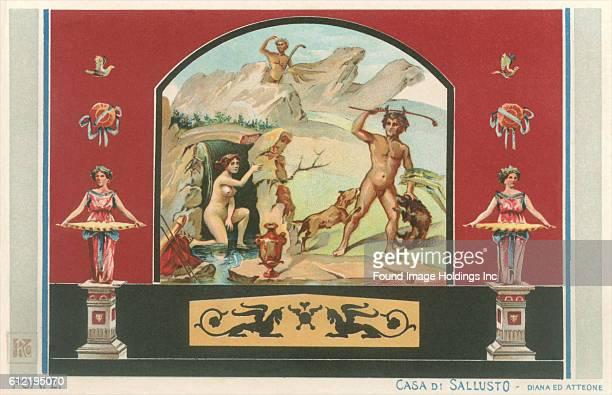 Vintage illustration of a Pompeiian Fresco in the Casa di Sallusto Diana ed Atteone
