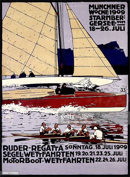 Vintage illustration of a poster promoting a Munich Germany regatta with men in a sailboat a motor boat and a row boat in 1909
