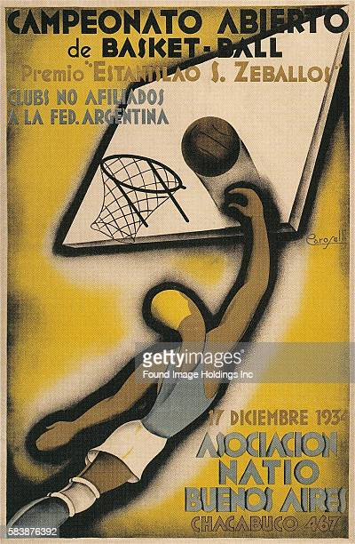 Vintage illustration of a poster promoting an open basketball championship in Chacabuco Buenos Aires Argentina on December 17 with a male athlete...