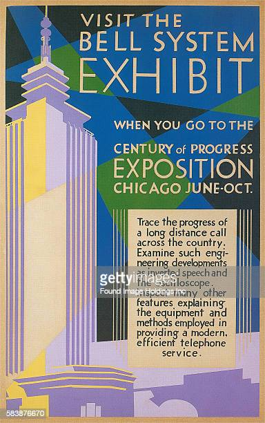 Vintage illustration of a poster promoting the Bell Telephone Exhibit at the 1933 Chicago World's Fair with a modern building and spotlights 'Visit...