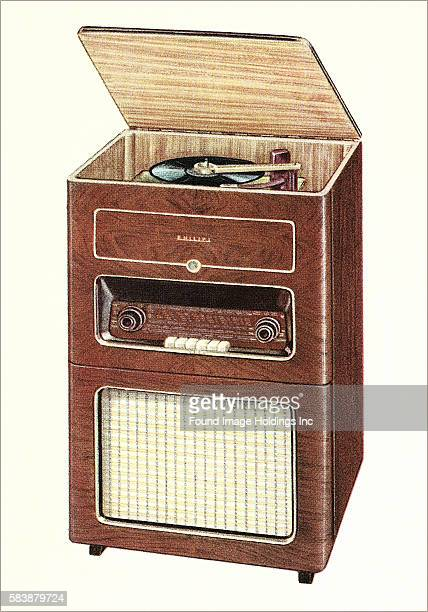 Old Radio and Record Player Philips