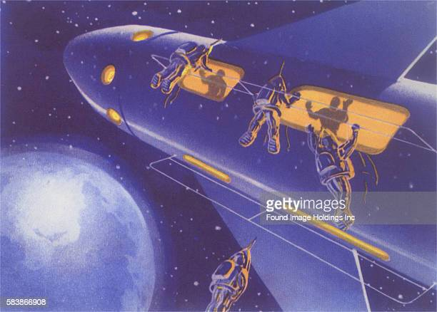 Vintage illustration of a Soviet Drawing of Space Travelers Entering Rocketship 1960s