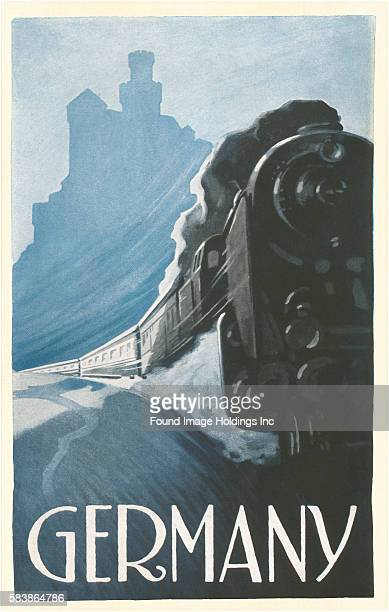 Vintage illustration of a Train by Rhine Castle Germany 1920s