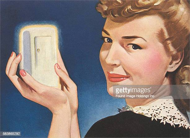 Vintage illustration of a woman holding a miniature fridge 1940s