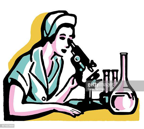 A vintage illustration of a woman looking into a microscope