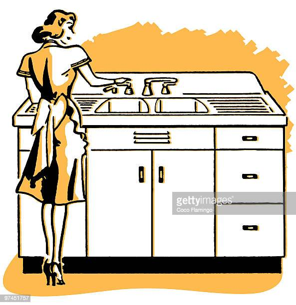 a vintage illustration of a woman washing dishes - washing dishes stock illustrations, clip art, cartoons, & icons