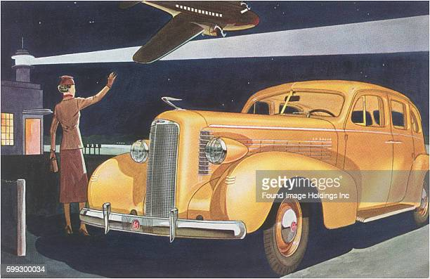 Vintage illustration of a yellow automobile at the airport at night in the 1930s