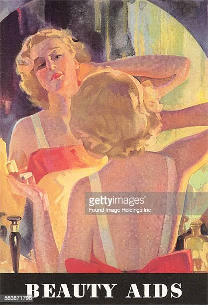 Vintage illustration of a young blonde woman seated at a dressing table looking at herself in a round mirror running her hand through her hair and...