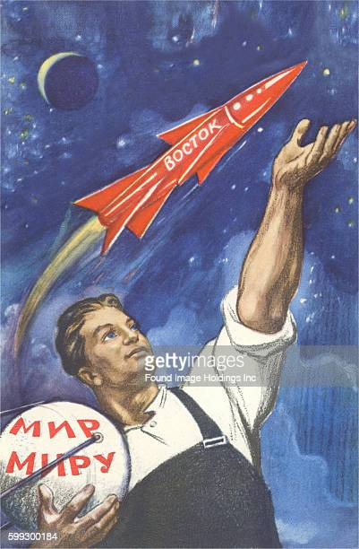 Vintage illustration of a young Soviet worker with Sputnik a rocket ship the Moon and stars 'Boctok' 1960s