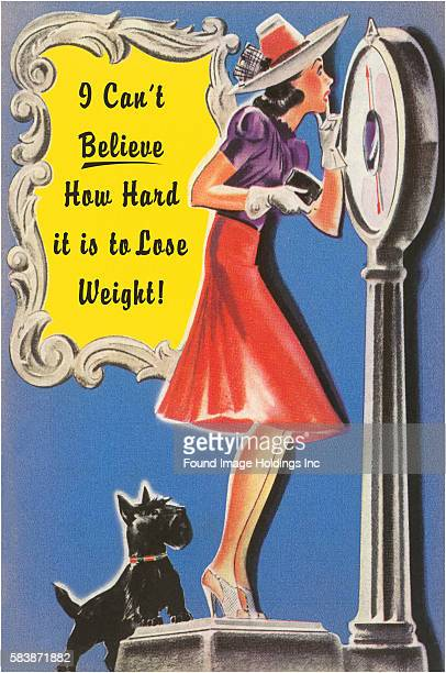 Vintage illustration of a young stylish woman, on a tall body-weight scale, with a Scottish Terrier standing on the scale behind her 'I Can't Believe...