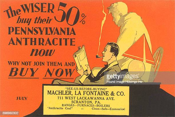 Vintage illustration of an advertisement of a man smoking a pipe and reading a newspaper to promote the early purchase of coal for the winter 'The...