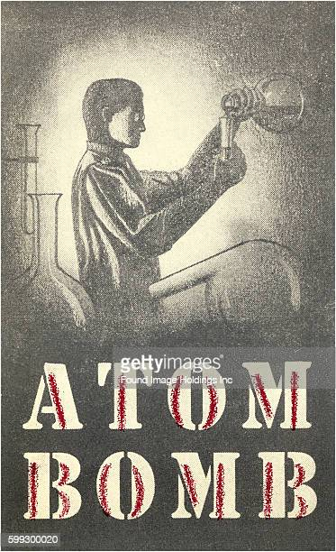 Vintage illustration of an atom bomb chemist in the laboratory
