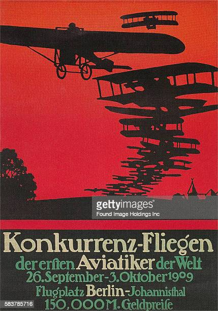 Vintage illustration of an early German Air Show Poster 1909