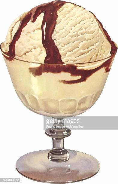 Vintage illustration of an ice cream sundae