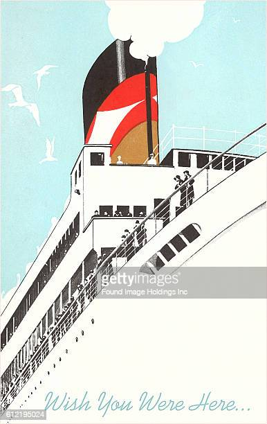 Vintage illustration of an ocean liner as seen from below Wish You Were Here from the 1940s