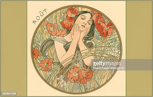 Vintage illustration of Art Nouveau Aout 1900s