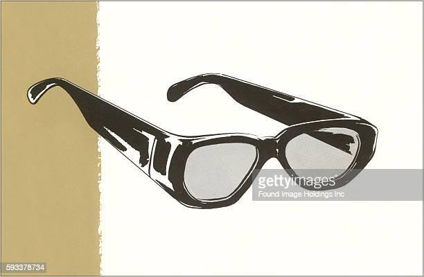 Vintage illustration of black horn rimmed eyeglasses