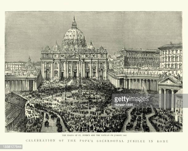 ジュビリーの日に聖ペテロ広場とバチカンの群衆のヴィンテージイラスト、1888 - 聖年点のイラスト素材/クリップアート素材/マンガ素材/アイコン素材