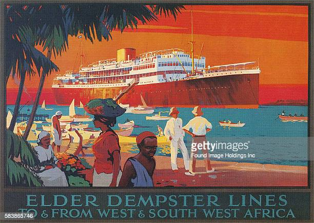 Vintage illustration of Elder Dempster Lines, 1910s.