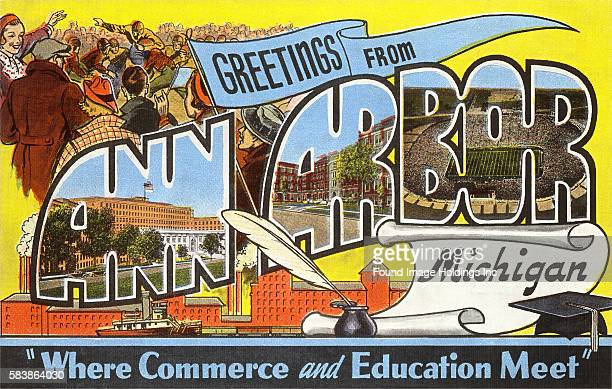 Vintage illustration of Greetings from Ann Arbor, Michigan, Where Commerce and Education Meet, large letter vintage postcard, 1930s.
