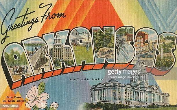 Vintage illustration of Greetings from Arkansas large letter vintage postcard, 1940s.