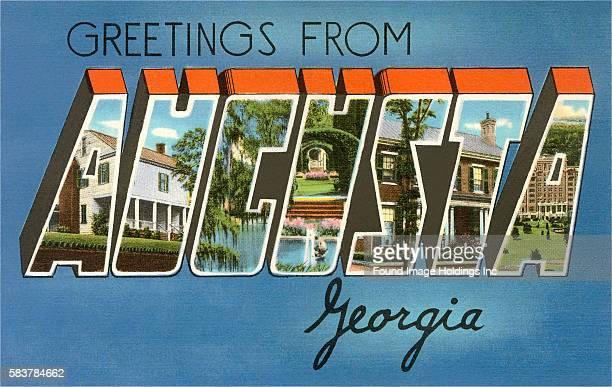 Vintage illustration of Greetings from Augusta Georgia large letter vintage postcard 1940s
