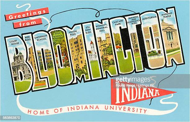 Vintage illustration of Greetings from Bloomington, Indiana, Home of Indiana University large letter vintage postcard, 1950s.