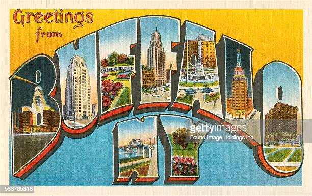 Vintage illustration of Greetings from Buffalo, New York large letter vintage postcard, 1930s.