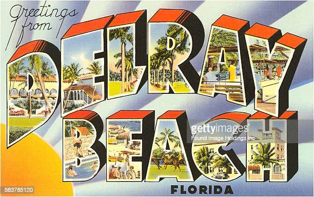 Vintage illustration of Greetings from Delray Beach Florida large letter vintage postcard 1930s