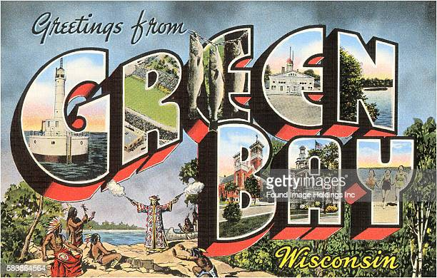 Vintage illustration of Greetings from Green Bay, Wisconsin large letter vintage postcard, 1930s.