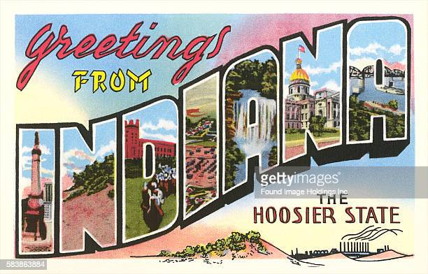 Vintage illustration of Greetings from Indiana, the Hoosier State, large letter vintage postcard, 1940s.