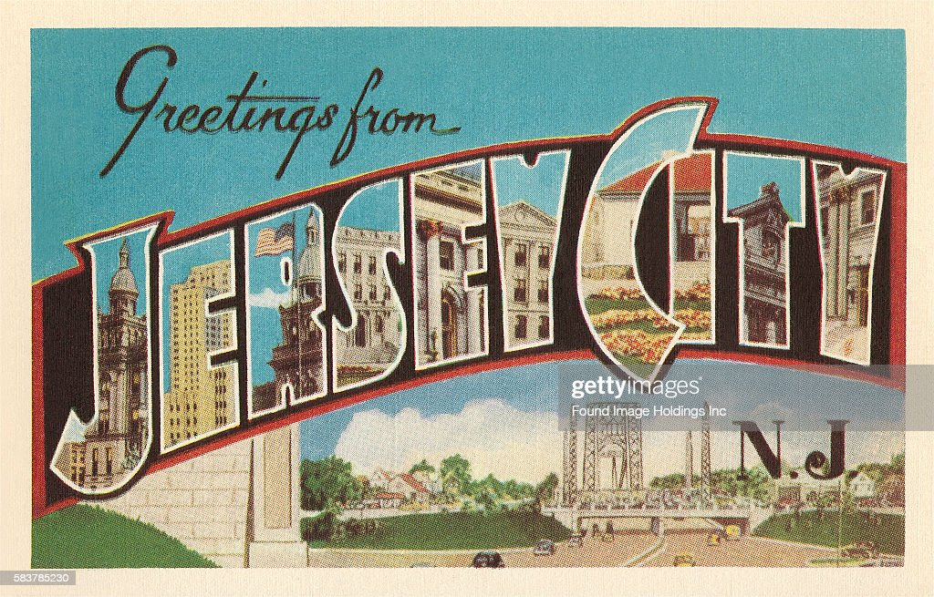 Vintage illustration of Greetings from Jersey City, New Jersey large