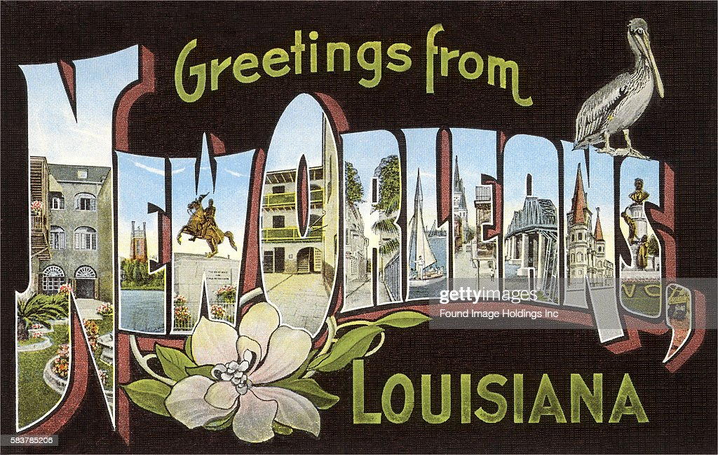 Greetings from new orleans louisiana pictures getty images vintage illustration of greetings from new orleans louisiana large letter vintage postcard 1950s m4hsunfo