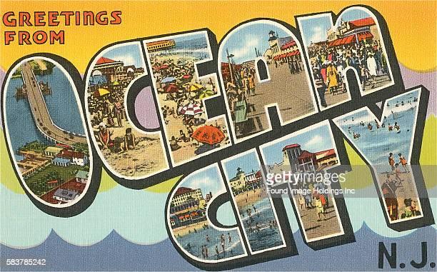 Vintage illustration of Greetings from Ocean City, New Jersey large letter vintage postcard, 1930s.