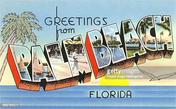 Vintage illustration of Greetings from Palm Beach Florida large letter vintage postcard 1930s