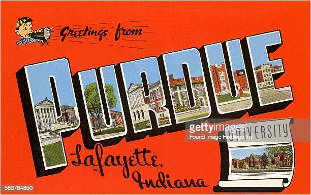 Vintage illustration of Greetings from Purdue University, Lafayette Indiana large letter vintage postcard, 1940s.