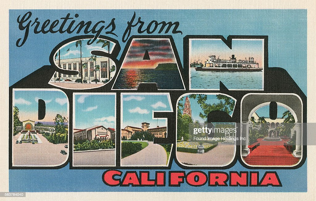 Greetings from san diego california pictures getty images vintage illustration of greetings from san diego california large letter vintage postcard 1940s m4hsunfo Gallery