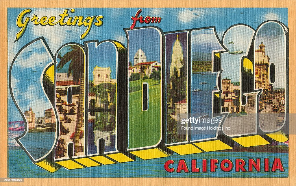 Greetings from san diego california pictures getty images vintage illustration of greetings from san diego california large letter vintage postcard 1950s m4hsunfo