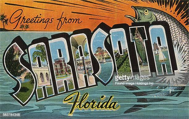 Vintage illustration of Greetings from Sarasota, Florida large letter vintage postcard, 1940s.