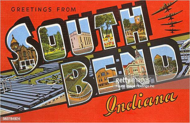 Vintage illustration of Greetings from South Bend, Indiana large letter vintage postcard, 1940s.