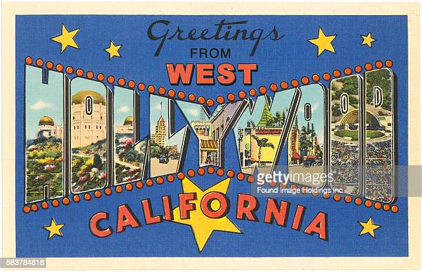 Vintage illustration of Greetings from West Hollywood, California large letter vintage postcard, 1930s.