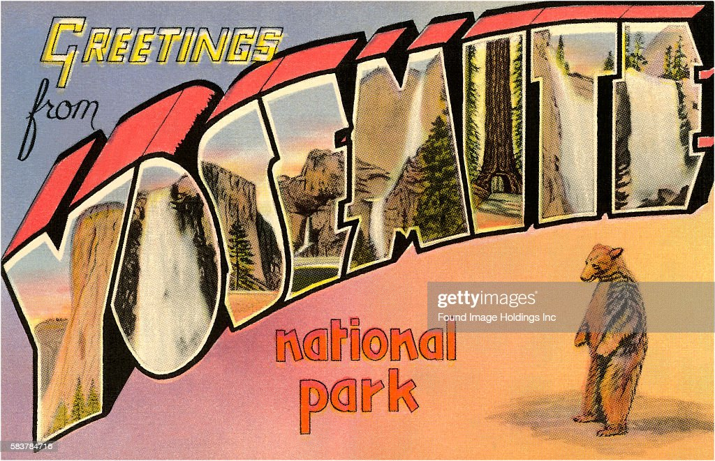 Greetings from yosemite national park california pictures getty vintage illustration of greetings from yosemite national park california large letter vintage postcard 1930s m4hsunfo