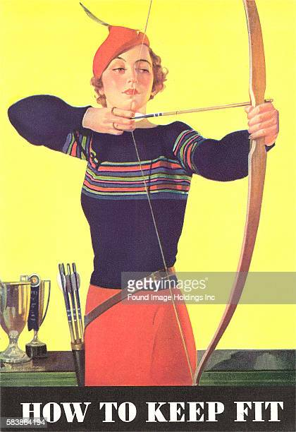 Vintage illustration of How to Keep Fit Woman Archer 1920s