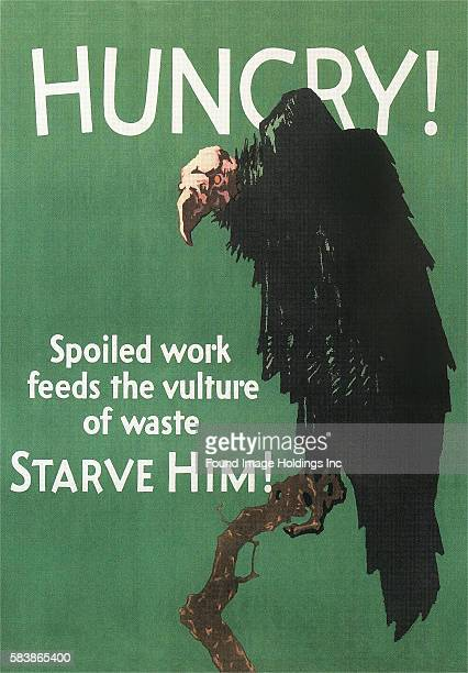 Vintage illustration of Hungry Vulture Poster 1910s