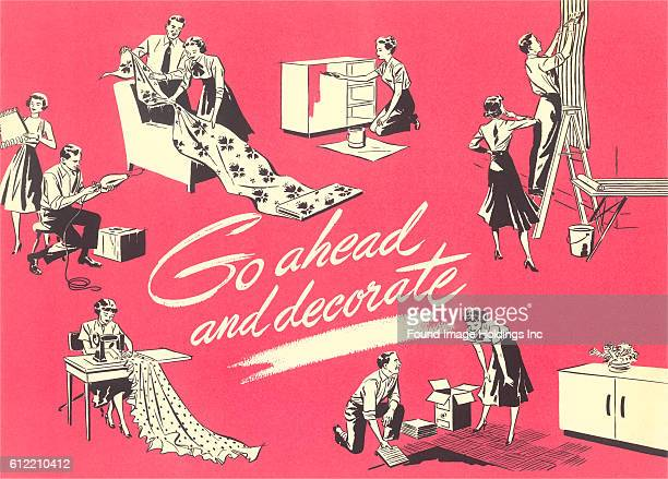 Vintage illustration of man and woman doing home improvement projects in the 1950s 'Go ahead and decorate'