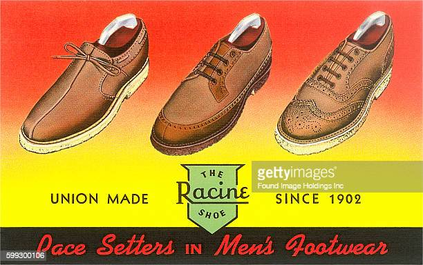 Vintage illustration of men's shoe advertisement 'Union Made the Racine Shoe since 1902 Pacesetters in Men's Footware' 1930s